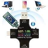 Shengshou USB電流電圧テスター USB-C Type C テスター アップグレードカラーディスプレイ ブルートゥース接続 電流 電圧 抵抗 温度 通電時間など表示 Quick Charge QC4.0/3.0/ QC2.0/ USB C/Android/対応 クイックチャージャー充電スピードなど測量 3.3~30V 0~5.1A USB 電流計