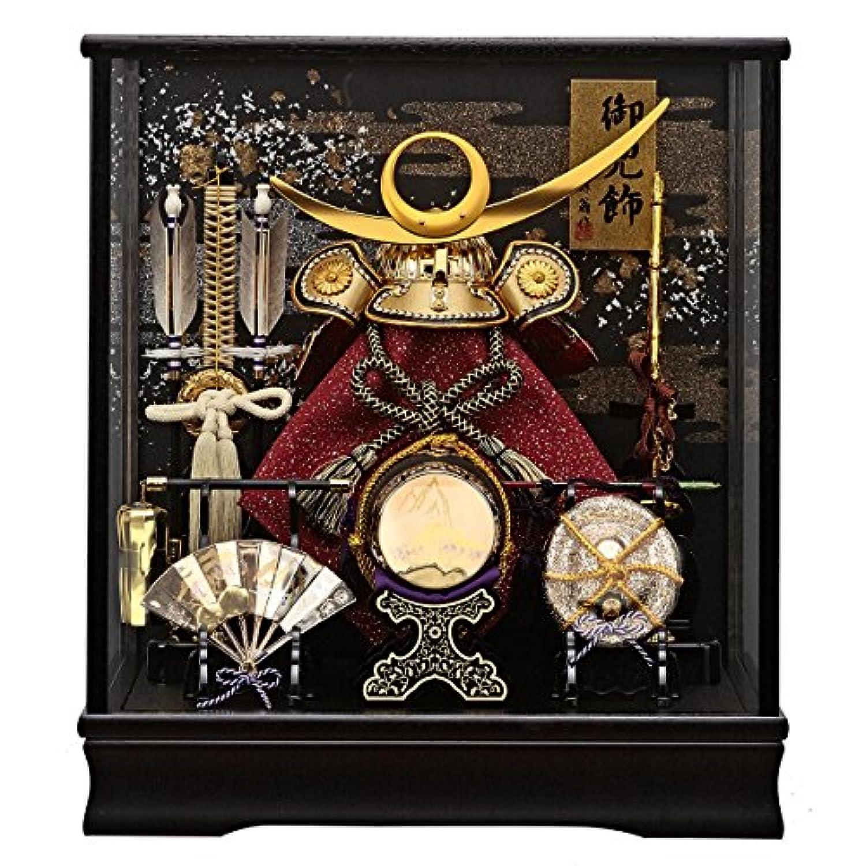 五月人形 兜ケース飾り 翠雲 金 オルゴール付 ガラスケース飾り GOFO-165-728 藤翁作