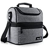 Hap Tim Lunch Box Insulated Lunch Bag Cooler Tote Bag For Adult Men Women Double Deck Cooler For Office Picnic Travel Camping (LB-SG16040-G)