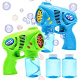 JOYIN 2 Bubble Guns with 2 Bottles Bubble Refill Solution (10 oz Total) for Kids, Bubble Blower for Bubble Blaster Party Favo