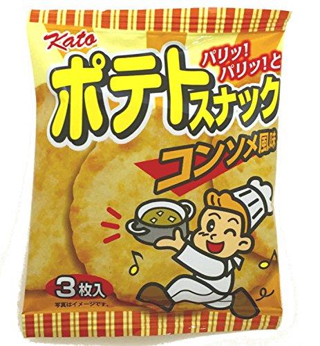 『かとう製菓 ポテトスナックコンソメ風味 3枚入×30袋』のトップ画像