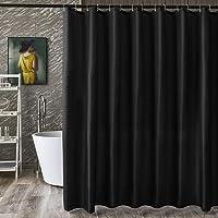 シャワーカーテン 目隠し 防カビ加工 防水 高級感あり リング付き 120x150cm ブラック