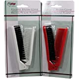 Folding Compact Travel Pocket HAIR BRUSH/COMB, 1 Red 1 White by Le Salon