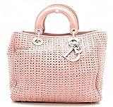 [クリスチャン ディオール] Christian Dior イントレチャート レディディオール ハンドバッグ ピンク シルバー金具