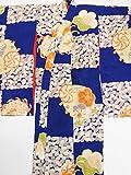 (ノーブランド品)4462 【中古】 子ども着物 女の子用 正絹錦紗 紫色地に花てまり、菊模様 シミ有 ランクC