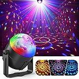 ディスコライト、Fooxonサウンドアクティブ化されたDJディスコライト回転ボールライト5W 8モードRGB LEDステージライト屋外祝日ダンスパーティー誕生日DJバーカラオケクリスマスウェディングショークラブパブ
