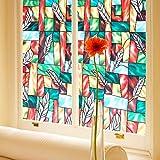 SmaTabi 窓用フィルム ガラスフィルム 窓 ステンドグラス風 水だけで貼れる 目隠しシート 遮光 断熱 UVカット (90cm x 500cm フェザー柄)