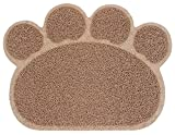 PetStyle ペット用 ランチョンマット トイレマット エサ皿 マット お食事マット 肉球型 Sサイズ(ブラウン)