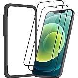 NIMASO 全面保護 ガラスフィルム iPhone 12 / iPhone 12 Pro 用 保護 フィルム 2枚セット ガイド枠付き