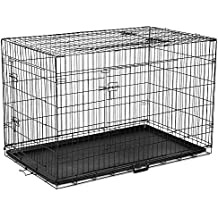 """42"""" Dog Cage Pet Crate Puppy Cat Foldable Metal Kennel House Portable 3 Doors XL"""