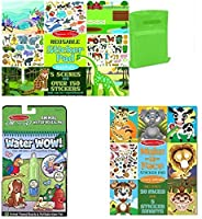Melissa & Doug Make a Face Crazy Animals, Habitats Reusable Stickers, and Water Wow Animal - Ages 4+