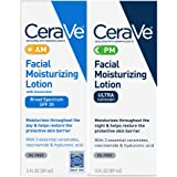 CeraVe Day & Night Face Lotion Skin Care Set | Contains CeraVe AM Face Moisturizer with SPF 30 and CeraVe PM Face Moisturizer