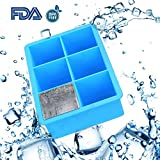 Ice Cube Trays - Large Ice Cube Tray - Silicone Ice Tray with Square Ice Cube Mold - Will Make Big Ice Cubes for Whiskey - 6 Cavity Silicone Ice Cube Trays in Blue