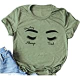 Woxlica Womens Always Tired Mom Shirt Cotton Posty Shirt Music Tee