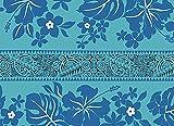 青のハワイアンファブリック ハイビスカス・タパ柄 fab-2569BL 【ハワイ生地・ハワイアンプリント】