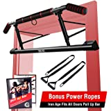 IRON AGE Pull Up Bar for Doorway - Angled Grip Home Gym Exercise Equipment - Pullupbar with Shortened Upper Bar and Bonus Sus