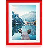 BOJIN 11x14 Red Picture Frames Made to Display A4 Photo Frame Woodden Diploma Certificate and Document Frame for Wall Hanging