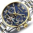 CARNIVAL(カーニバル) 8728G メンズ アナログ機械式 クロノグラフ腕時計 (ネイビー/ゴールド/メタルバンド) 並行輸入品