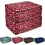 Yachee 2pcs Thick Oxford Clothing Storage Bags with Carry Handles, Waterproof Foldable Large Fabric Clothes Organizer for Seasonal Clothes, Comforters in Closet, Blanket, Bedding, Pillow - Red Floral