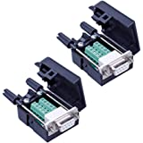 Anmbest 2PCS DB9 Solderless RS232 D-SUB Serial to 9-pin Port Terminal Male Adapter Connector Breakout Board with Case Long Bo