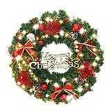 クリスマスリース 直径約30/40/50/60/80cm クリスマス 飾り インテリア 玄関 ドア アクセサリー プレゼント ギフト 贈り物 (40cm, レッド)