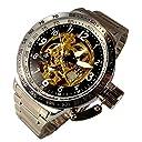 リューズキャップつき シルバーカラー ビッグフェイス 自動巻機械式腕時計
