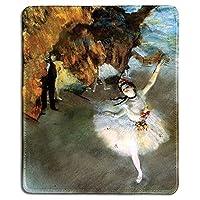 アートマウスパッド-星の有名なファインアート絵画が付いた天然ゴム製マウスパッド、1878年(ステージ上のダンサー)エドガー?ドガ著-ステッチされたエッジ