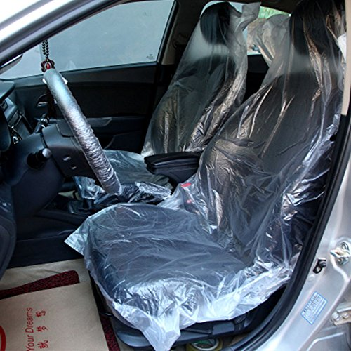 BigFamily 10Pcs Car Disposable Plastic Transparent Seat Protective Covers,Disposable Seat Cover Seat Cover for Car