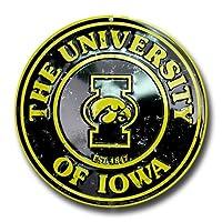 アイオワ大学ホークアイズCollegiateエンボスメタル円形Sign cs60116