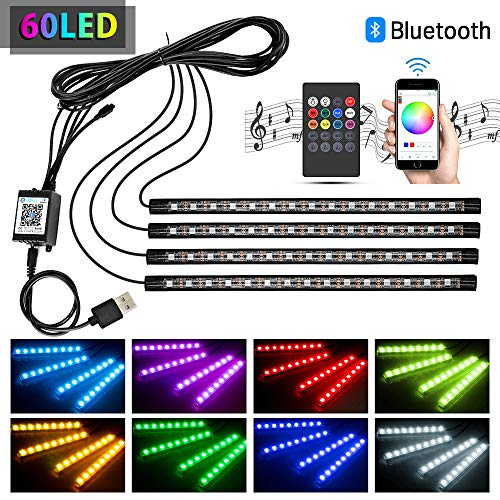Wsiiroon 車 60LED RGB テープライト 携帯...