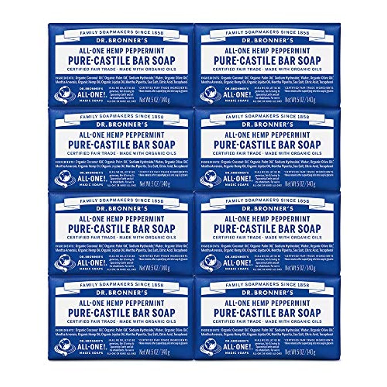 悪夢隠された男やもめDr. Bronner's Pure-Castile Bar Soap - Peppermint 5oz. (Pack of 8) by Dr. Bronner's