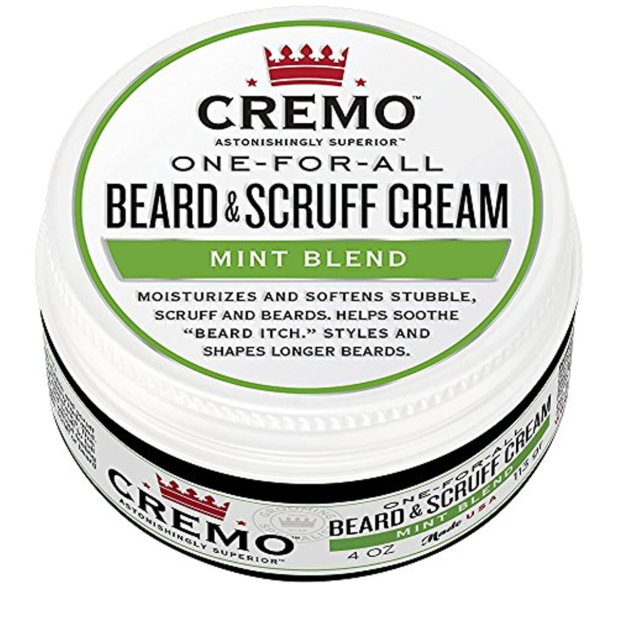 無傷ショッキング昼間Cremo ビアード&首筋クリーム、ミントのブレンドの香り、潤い、スタイルとひげのすべての長さについてはビアードかゆみを軽減し、4オンスをブレンド、包装は変更になる場合があります