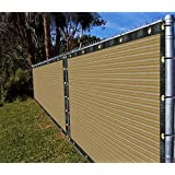 Ifenceview 4'x5' to 4'x50' Beige Shade Cloth/Fence Privacy Screen Fabric Mesh Net for Construction Site, Yard, Driveway, Garden, Railing, Canopy, Awning 160 GSM UV Protection (4'x15')