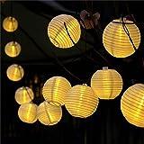 提灯ライト ATPWONZ ちょうちん 6.35M 30球 提灯 LEDストリングライト 電池式 防水 イベント 看板 お祭り屋台に装飾用 屋外 パーティー ハロウィーン飾り 電球色 丸型