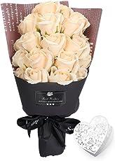 YOBANSA フレグランス シャボン フラワー 造花 ソープ 薔薇 枯れない 花 ブーケ プレゼント 花束 母の日 父の日 出産祝い 結婚祝い お見舞い 誕生日 石鹸 香り ギフト お祝い ラッピング 包装 ギフトバック付き 21 本