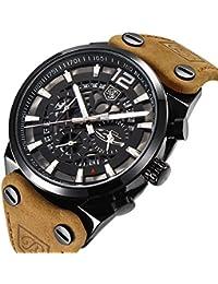 BY 男性用 ミリタリークロノグラフクォーツ腕時計