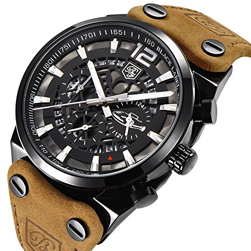 BENYAR 男性用 ミリタリークロノグラフクォーツ腕時計