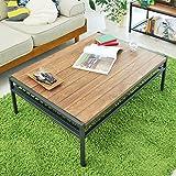 アイアン*ウッド センターテーブル 95cmタイプ 幅95cm×奥行68.5cm×高さ35cm パイン材 オイル仕上げ PT-950BRN