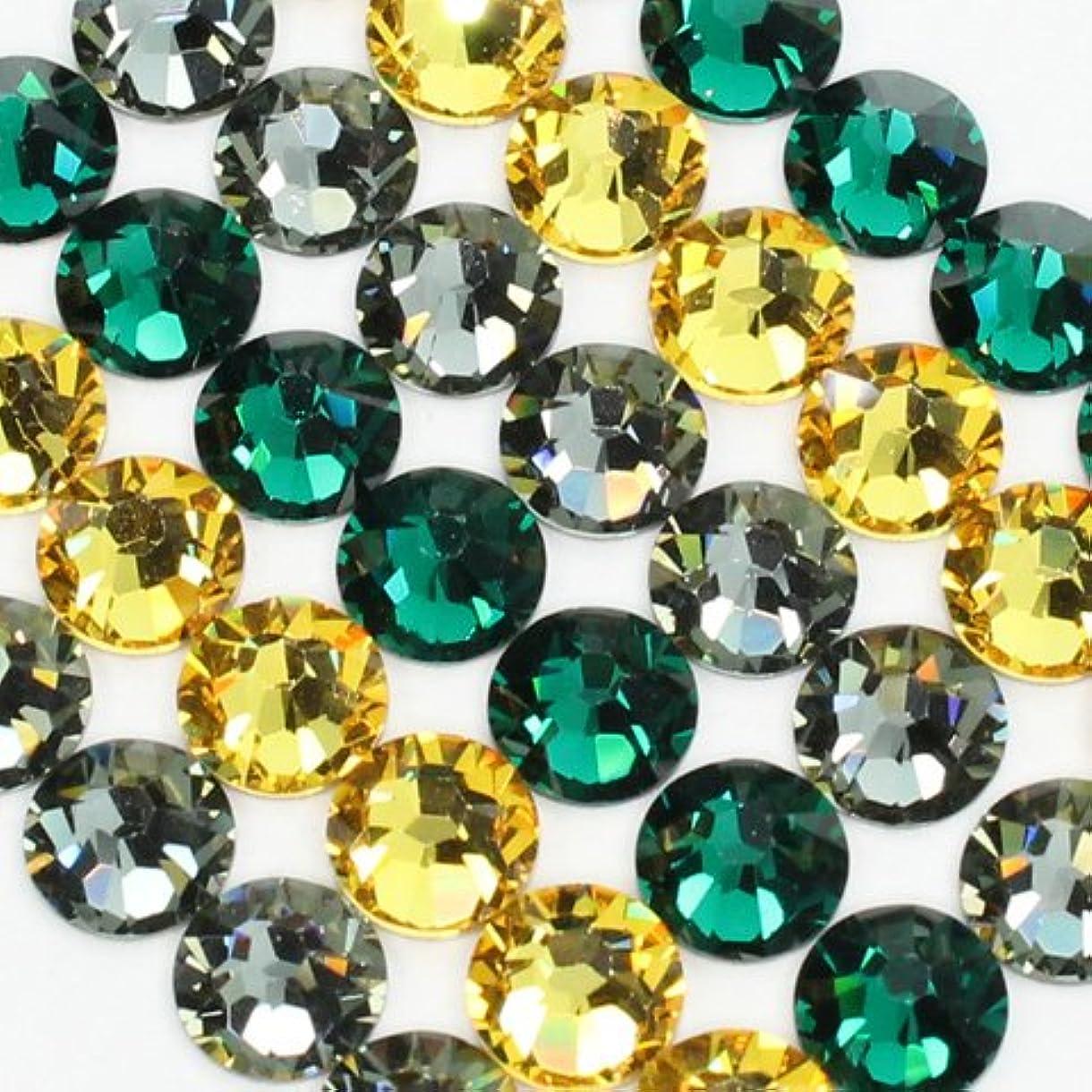 熟達好戦的な種お試しアートMIX[ジャマイカカラー]シトリン、ブラックダイヤモンド、エメラルド/スワロフスキー(Swarovski)/ラインストーン ss16(各20粒)