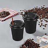 50 Pcs 8oz Disposable Takeaway Coffee Paper Cups Triple Wall Take Away w Lids Black 100pcs (50 Cups+50 Lids) 8oz(250ml)