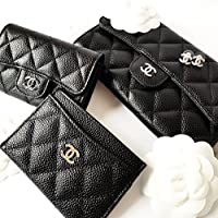 No Brand Nouveauté. 31505 hqj Caviar Quilted Card Holder Wallet with CC HardWare 8A/9A 本革 長財布 レディース ウォーレット