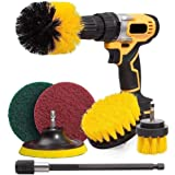 7Piece Drill Brush Attachments Set,Scrub Pads & Sponge, Power Scrubber Brush with Extend Long Attachment All Purpose Clean fo