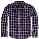 GHETTO (ゲットー) アメカジ シャツ メンズ 長袖 チェック 細身 LL 黒 パープル 白 3色