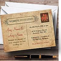 Shabby Chic Vintageはがき素朴なローズスタンプPersonalizedウェディング招待状 200 Invitations