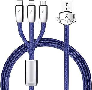 ライトニングケーブル Micro USB Type C ケーブル Baseus(ベースアス) 3in1 ケーブル iPhone 充電ケーブル 3A急速充電 iPhone 8 8plus/7 7 plus/6 6s plus/iPad/Macbook 1本3役 多機種対応 1.2m ブルー