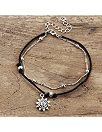 HENGSONG Bohemian Personality Carved Sunflower Tiered Anklet Set,Beaded Beach Anklet