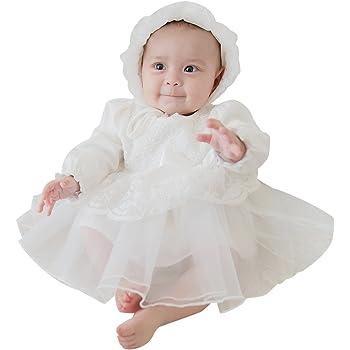594f192cfb97e Mikistory セレモニードレス お宮参り 結婚式 フォーマル ベビー服 長袖 女の子 新生児 出産祝い ベビードレス 帽子付き ホワイト 73
