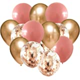 Cherry Pink Classic Rose Gold Confetti Balloons Kit of 15pcs for Birthday Party Decorations for Women/Classic Rose Gold Latex