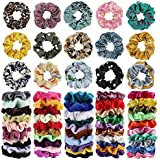 65Pcs Hair Scrunchies Velvet,Chiffon and Satin Elastic Hair Bands Scrunchie Bobbles Soft Hair Ties Ropes Ponytail Holder Hair Accessories,Great halloween Thanksgiving day and Christmas