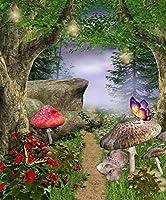 Gardenia 8 x 10フィート アニメ フェアリーテール 誕生日パーティー 装飾 写真クロス カスタマイズ写真 背景 パスウェイ マジックフォレスト 背景 写真スタジオ小道具 JY-852